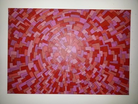 An abstract painting titled 'Study in Red' by Lucy Chaplin. A burst of colour, strawberry red to soft pinks. Small tiles form a colour burst array.